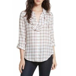 JOIE Fara Plaid Ruffle Front Buttom Down Top Large